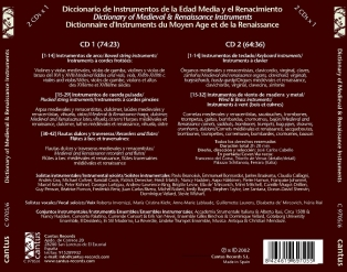 C 9705/6  DICTIONARY OF MEDIEVAL & RENAISSANCE INSTRUMENTS (2 CDs) [11,99 Euros]