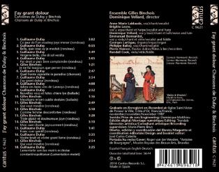 C 9621 J'AY GRANT DOLOUR: CHANSONS BY DUFAY & BINCHOIS