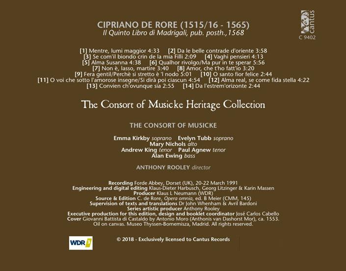 c 9402 cipriano de rore il quinto libro di madrigali 1568 9 99